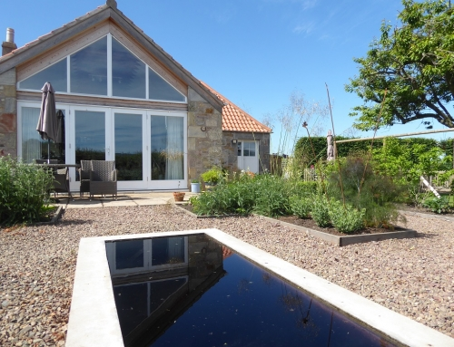 Rural Smiddy with Reflective Pool in East Lothian